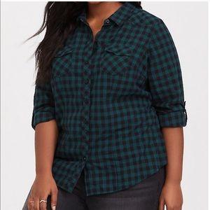 Torrid Green/Black Plaid Twill Camp Shirt Sz 2X